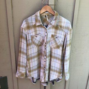 Free People Oversized Brown / Gold Soft Flannel MD